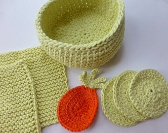 Spa set, tropical pineapple spa set, crochet basket, facecloth and face scrubs, washcloth and scrubbies, Free UK shipping, crochet pineapple