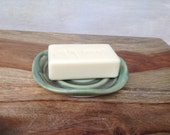 Handmade Ceramic Soap Dish in Rustic Green Pottery Spoon Rest