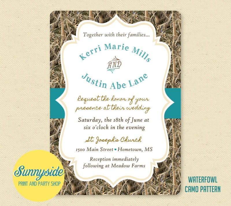 Camo Wedding Invitation: Hunting Camo / Hunt Is Over Printed Wedding Invitation Package