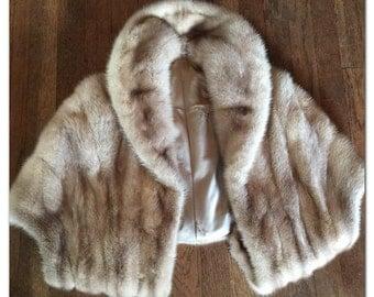 Vintage 1950s Mink Fur Stole - Platinum Blonde Wrap - Winter Bridal Fashions