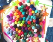 """Luxe Pom Poms with Loops for Jewelry, Bulk, 1"""" Designer Jewelry Making Charms, Summer Fashion Trend, Thick Cotton, Handmade, In Pairs"""