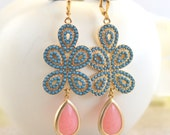 Turquoise and Coral Pink Statement Earrings in Gold.  Bold Summer Statement Earrings. Long Dangle Earrings.
