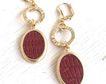 Gold Circle and Brick Red Oval Dangle Earrings. Long Gold Dangle Earrings.  Geometric Earrings.  Modern Jewelry. Earrings. Gift for Her.