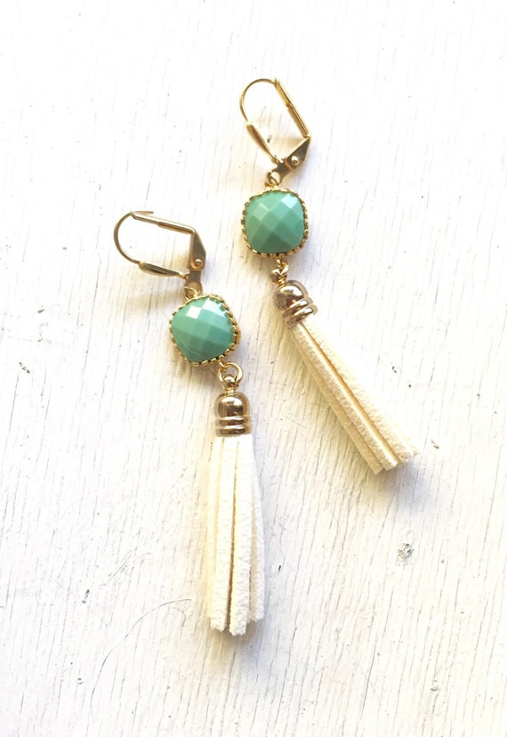 Cream Tassel Earrings.  Green and Ivory Leather Tassel Earrings. Drop. Dangle. Tassel Jewelry. Stone Jewelry. Jewelry Gift.  Dangle Earrings