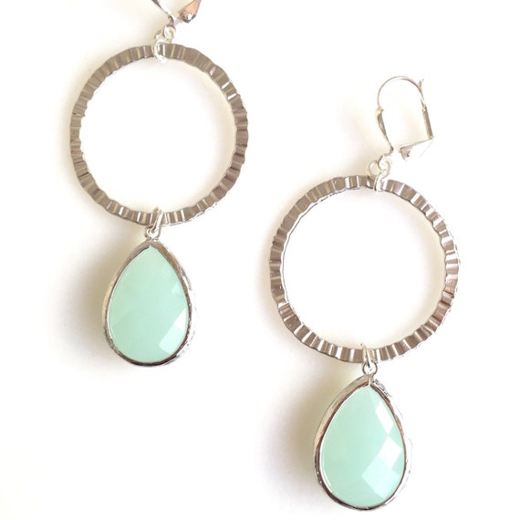 Mint Stone and Silver Hoop Dangle Earrings. Long Silver Dangle Earrings.  Geometric Earrings.  Modern Jewelry. Hoop Earrings. Gift.