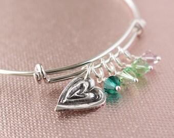 Mom Mommy Grandma Grandmother Silver Heart Bangle Bracelet- Mema, Grandchildren, Mom Mommy Bangle Bracelet P-306G