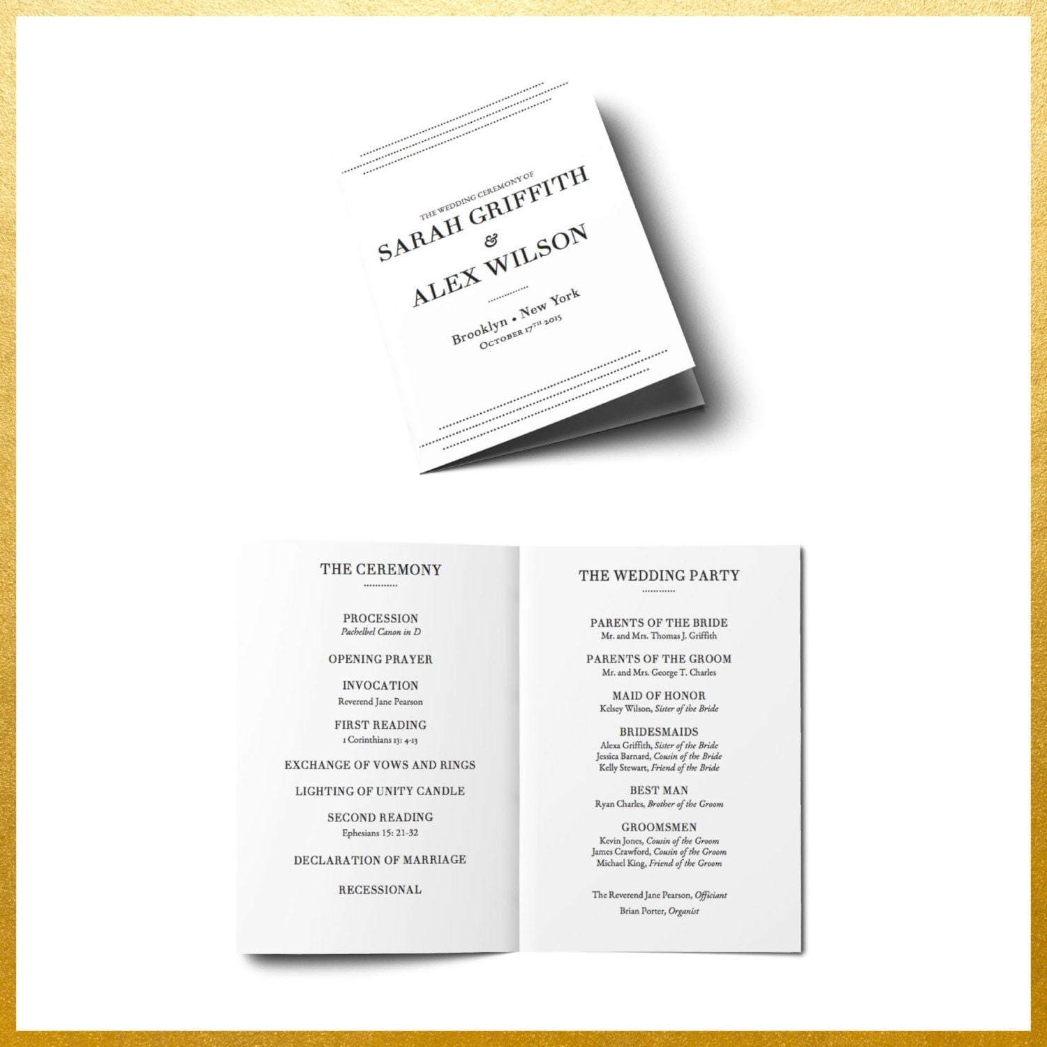 Printable Wedding Program Order Of Service Editable Ceremony - Easy wedding program template