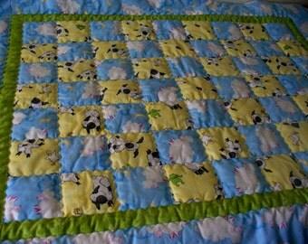 Blue/Yellow Lamb Baby Quilt
