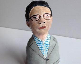 Original clay sculpture // Man in Grey Jacket // figurine bust // clay figure // totem