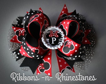 Minnie Mouse Bow, Minnie Mouse Party, Minnie Mouse Boutique Hair Bow, Red, White and Black Minnie Mouse Bow, Disney Minnie Mouse Hair Bow