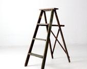 vintage green wood ladder, folding ladder