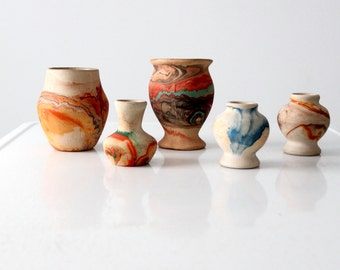 FREE SHIP  Nemadji pottery collection, vintage marbled clay vases