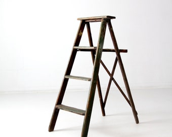 vintage green wood ladder, folding ladder