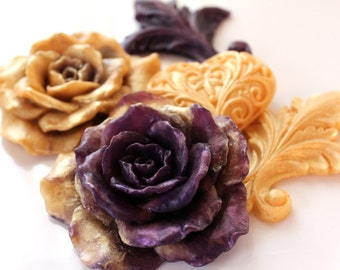 ROSE & HEART SOAPS,  Amethyst and Gold Roses and Fleur de Lis Set, Valentine's Day, Custom Scented, Vegetable Based, Handemade