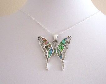 Big abalone paua shell BUTTERFLY sterling silver pendant with necklace chain
