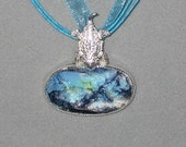 Turquoise in Matrix, Sterling Silver Pendant with Horny Toad Bail