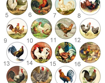 Rooster and Hen Barnyard Pinback Flatback Button Flair Badge or Magnet 1 inch set of 10