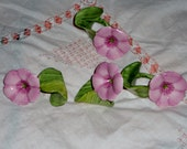 Bone china vintage pink flower napkin rings set of four Hollywood regency style