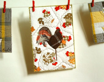 Folk art brown rooster fabric postcard for boyfriend