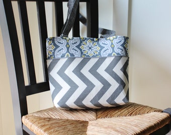 Chevron and Floral Small Tote Bag Gray and Yellow