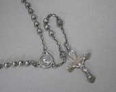 Antique Sterling Rosary, Vintage French, Filigree Beads, Depose, Crucifix Necklace, Virgin Mary, Jesus