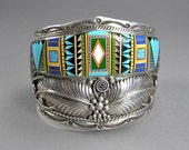 Native American Inlay, Sterling Inlay Bracelet, Vintage Native American Cuff, Statement Bracelet, Cosmic Astronomy Theme