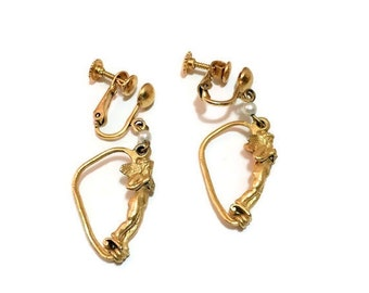 Angel Earrings - Gold Plated with Pearls - Vintage 1950s Screw Backs