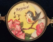 Vintage Handcrafted Bluebird and flowers Bracelet Piece