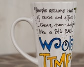 "Doctor Who ""Wibbly-wobbly, timey-wimey"" hand-painted Tenth Doctor quote mug - Large, tall and skinny white mug with TARDIS"