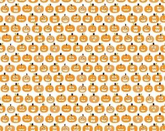Riley Blake Halloween Magic Pumpkins White - Cotton Fabric - Choose your cut