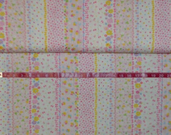 Cosmo. Floral Stripe Pink. Double Gauze - BTY - Japanese - Choose your cut.