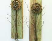 Assemblage Art Flowers on Reclaimed Wood with Rusty Salvage and Wire - Industrial Art Pair