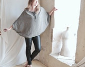 Loose Tunic in Grey Black Twill  with Dolman Raglan style sleeves - Leather Tie Tassel -  Free Shipping