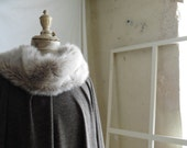 Taupe Brown Cape Poncho with Ecru Sheepskin Collar - Made to Order.  Various lengths available.