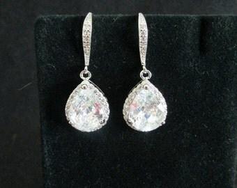 Bridal Earrings,Wedding Earrings,Zirconia Bridal Earring,CZ Teardrop Earrings,Bridal Jewelry,Wedding Jewelry,Bridesmaids Jewelry,Teardrop,CZ