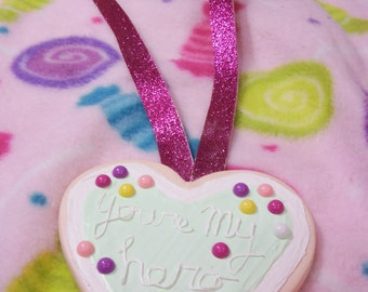 Wreck it Ralph You're My Hero Cookie Pendant Wearable Cosplay double sided