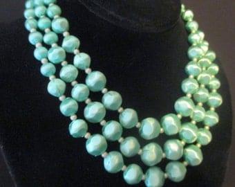 Aqua Beads Triple Strand Luminous Mid Century Japan Necklace