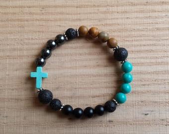 Essential Oil Diffuser Bracelet with Turquiose Cross - Stretch Bracelet