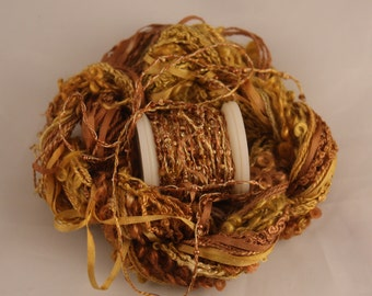 Gold yellow copper brown Beaded yarn Silk Embroidery thread Weaving Supplies Hand dyed Sewing quilting thread sequin thread Embellishments