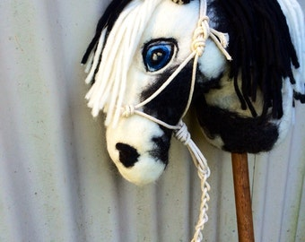 Handmade hand felted black & white  Art Horse