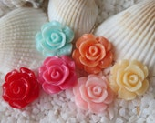 Resin Flower Cabochon - 14mm -  12 pcs -CHOICE OF COLOR