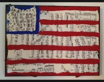 Fourth of July music art painting america USA american flag musician singer gift national anthem mixed media book painting orignal art print