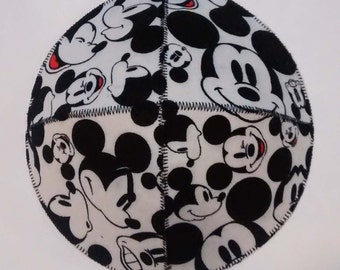 Mickey Mouse Faces Saucer Kippah Yarmulke Black and White