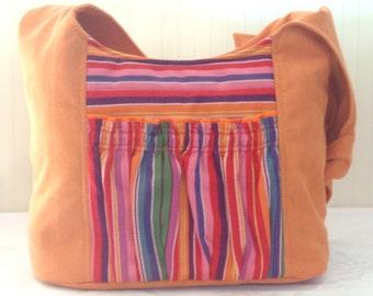 Big Hobo Tote Bag Babywearing orange Tote Bag with Babylonia Fruit Coctail PLUS FREE Lanyard from Girasol