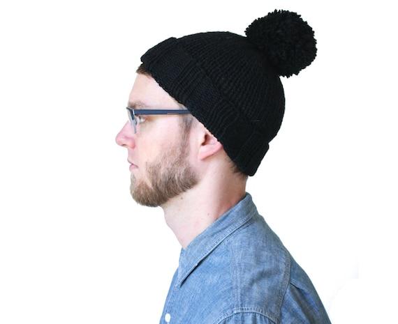 Black Pompom Toque, Men's Knit Hat in Soft Wool