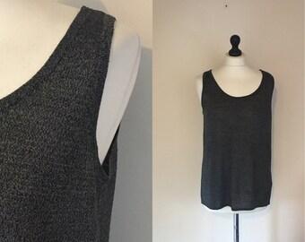 vintage grey merl vest top. UK 12