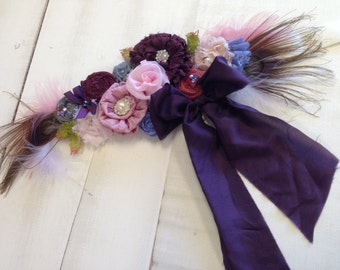 Ready to Ship- Rosette Wedding or Maternity Sash Vintage-inspired w/ Handrolled Rosettes & Peacock Feathers