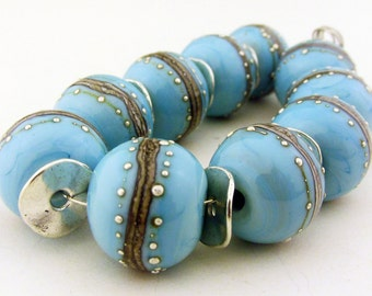 Handmade Lampwork Turquoise and Silvered Ivory Round Beads(10)-  LEteam