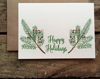 Happy Holidays Cards with Envelopes / Holiday / Christmas Card / Set of 10 / Rustic / Country