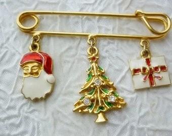 Christmas Brooch,Santa,Christmas Tree, Package Holiday Pin